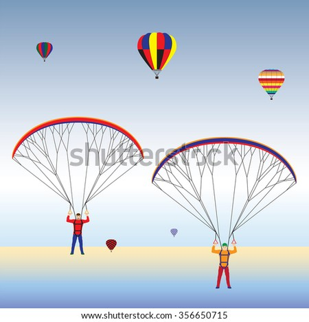 Paragliding and hot air balloons in the sky. Paraglider. Paraplane. Kite. Hot air balloon. - stock vector