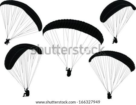 paragliding collection - vector - stock vector