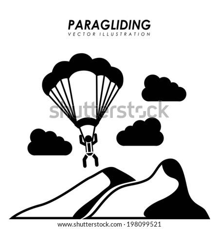 Paragliding design over white background, vector illustration - stock vector