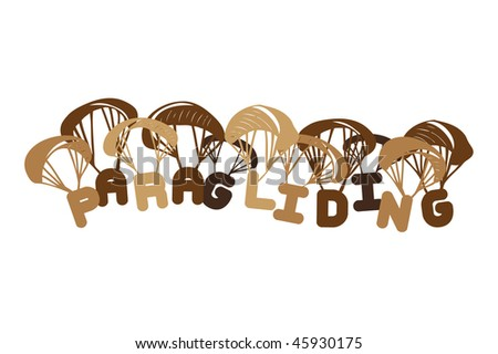 Paragliding illustration from letters - stock vector