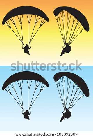 paragliding silhouette - stock vector