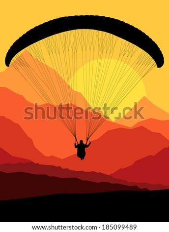 Paragliding vector background landscape concept vector - stock vector
