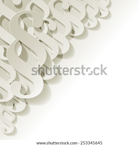 Paragraph white symbol paper in the corner on white background - stock vector
