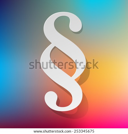 Paragraph white symbol paper on rainbow background - stock vector