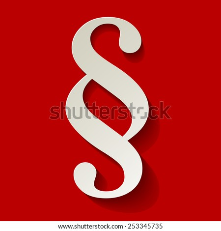 Paragraph white symbol paper on red background - stock vector