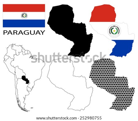 Paraguay - Flag, four vector map contours and South America map