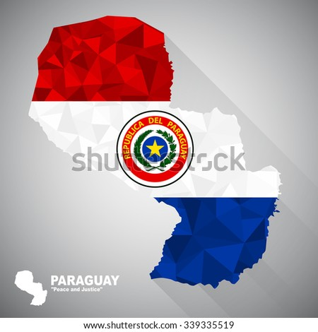 Paraguay flag overlay on Paraguay map with polygonal and long tail shadow style (EPS10 art vector) - stock vector