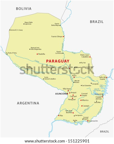 paraguay map - stock vector