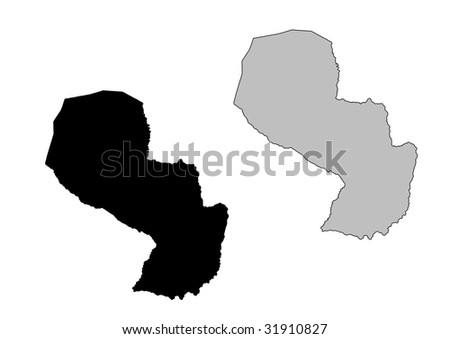 Paraguay map. Black and white. Mercator projection. - stock vector