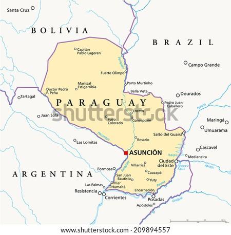 Paraguay Political Map Capital Asuncion National Stock Vector - Where is asuncion