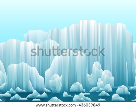 Parallax background of icebergs and sea. Vector illustration. Arctic or antarctic landscape. - stock vector
