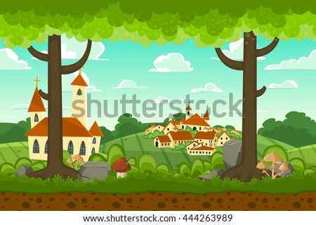 Parallax cartoon country horizontal landscape, nature vector illustration. Seamless background with trees, village,church and fields for 2d games. - stock vector