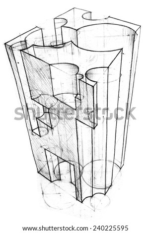 Parallelepiped with geometric holes. Pencil sketch. Vector image - stock vector