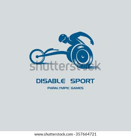 Paralympic games. The athlete in the wheelchair. - stock vector