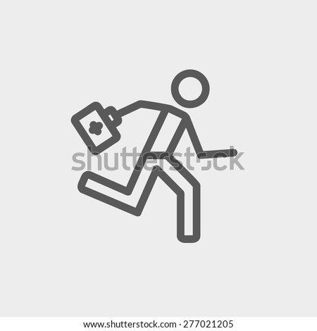 Paramedic running with first aid kit icon thin line for web and mobile, modern minimalistic flat design. Vector dark grey icon on light grey background. - stock vector