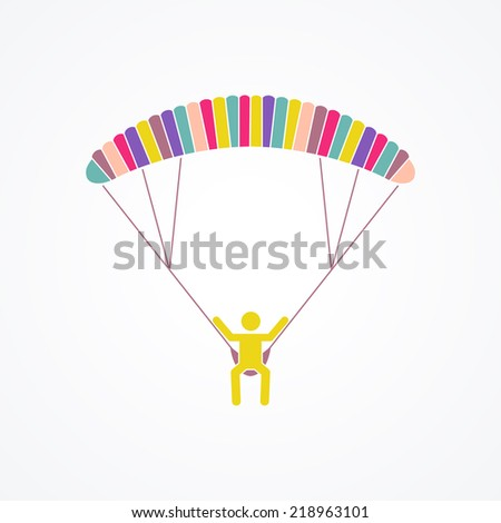Parasailing vector flar concept - main flying above the sea or and ocean in the air on parachute or parasail wing. Holiday outdoor activity