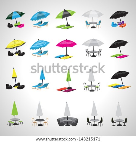 Parasol And Chairs Icons - Set - Isolated On Gray Background - Vector Illustration, Graphic Design Editable For Your Design - stock vector