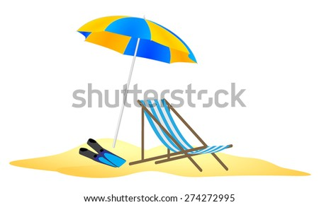 parasol, chaise and flippers in the sand - stock vector
