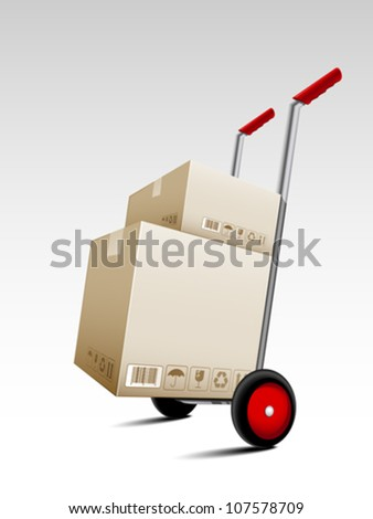 Parcel box delivery on hand truck - stock vector