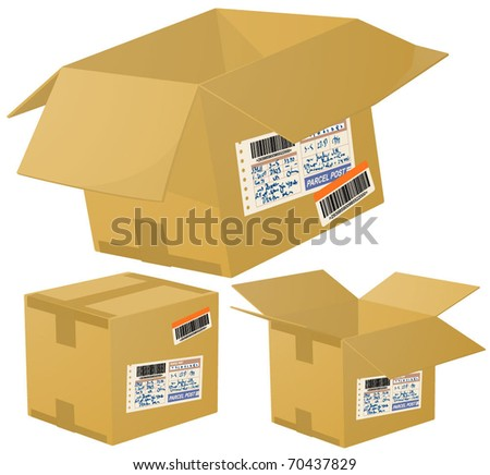 Parcel boxes. Vector. - stock vector