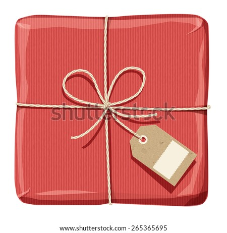 Parcel wrapped up with striped red paper, tied up with twine  with  price  tag - stock vector