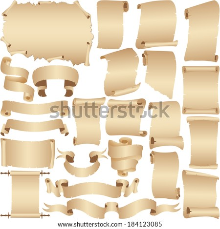 Parchment and papyrus ribbon banners vector set isolated on white.