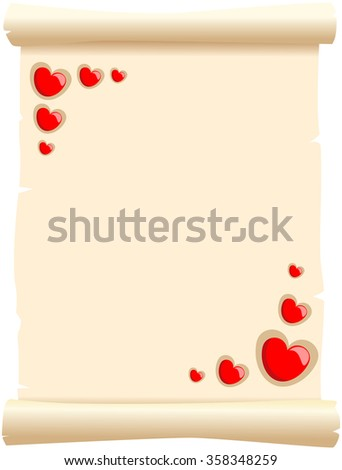 Parchment decorated with red hearts - stock vector