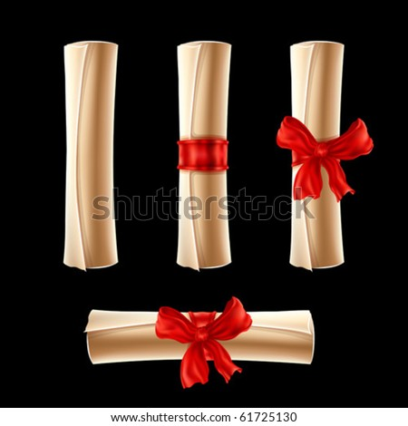 Parchment scrolls with red ribbons isolated - stock vector