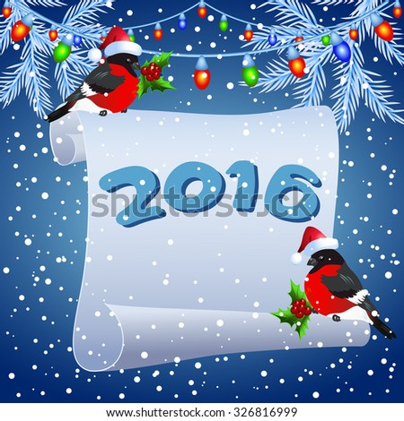 Parchment with bullfinches in Santa Claus hat and Christmas garland lanterns - stock vector