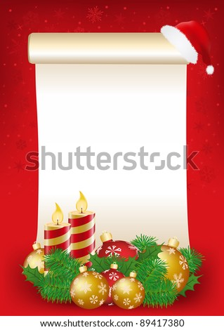 Parchment with christmas decorations - stock vector