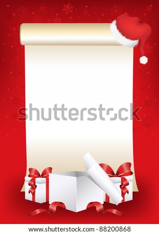 Parchment with gift boxes - stock vector