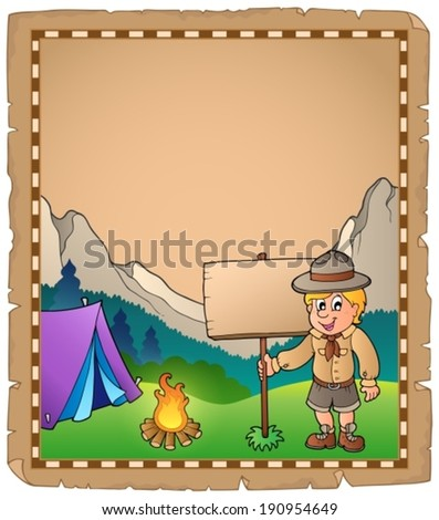 Parchment with scout boy and board - eps10 vector illustration. - stock vector