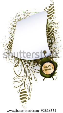 Parchment with the seal on plant background - stock vector
