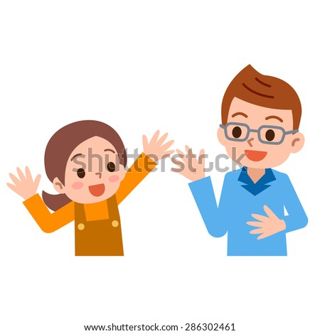 Parent and child to the conversation - stock vector