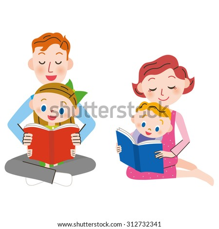 Parent and child who read a book - stock vector