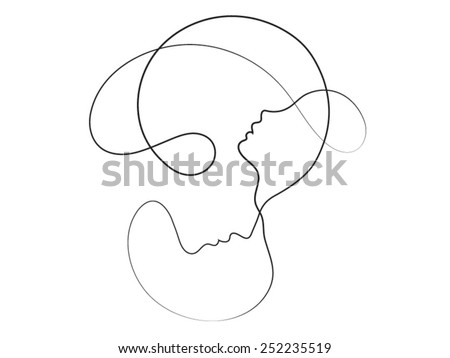 Parent Connection series. Interplay of graceful profile lines of mother and child on the subject of parenting, motherhood, human connection and family - stock vector