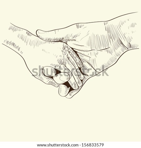 parent's hand lead his child , trust family concept monochrome vector illustration  retro styled hand drawn design element - stock vector