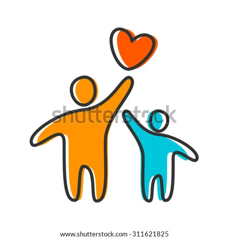 Parent. Template design for an icon or logo. Symbol of protection, care and love for children. - stock vector