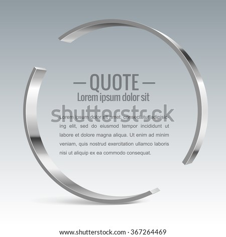 Parentheses sign. Quote, message Shiny metal banner. For Your Design. Vector illustration. - stock vector