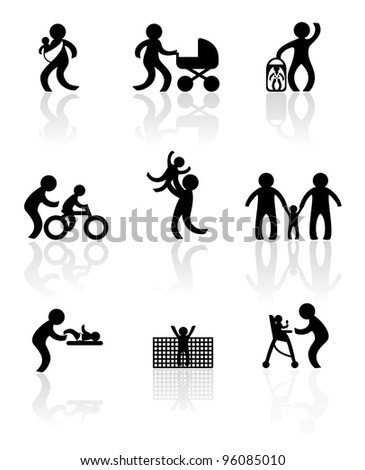 Parenting in silhouettes - stock vector