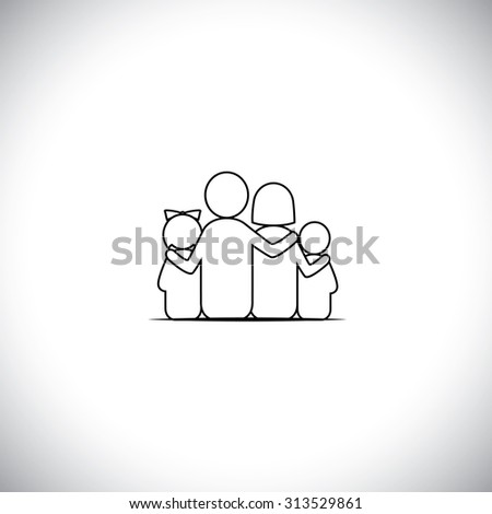 parents and children together relationship bonding - vector line icon. this represents sharing, love, human touch, friendly embrace, empathy, compassion, listening, understanding, togetherness - stock vector