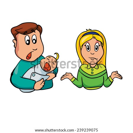 parents and crying baby, vector illustration on a white background - stock vector