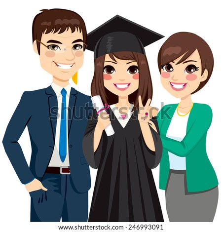 Parents standing proud and happy of daughter holding diploma on graduation ceremony - stock vector