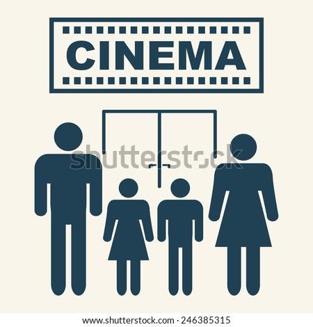PARENTS TAKE CHILDREN TO THE CINEMA pictogram illustration vector - stock vector