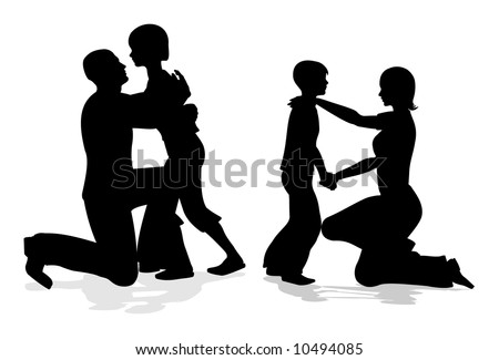 parents with children talking silhouette vector - stock vector