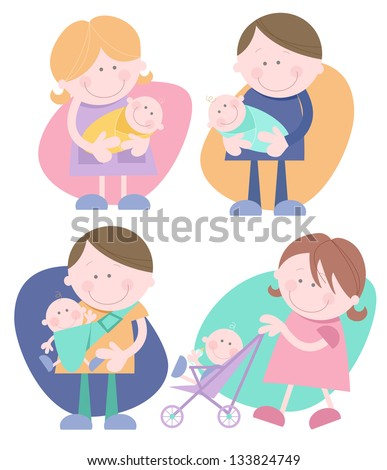 Parents with their baby Set of four individual cute characters- Mother holding baby, Father holding baby, Woman pushing stroller, Man with baby in sling. - stock vector