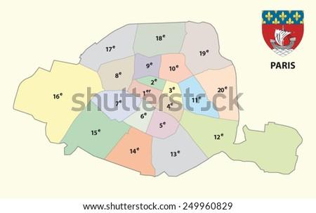paris administrative map - stock vector