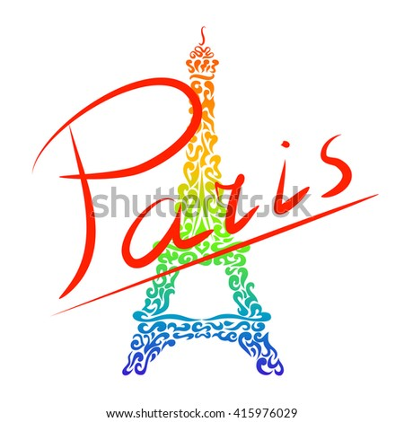 Paris and decorative Eiffel Tower. Color ornaments on white background. Vector Illustration.