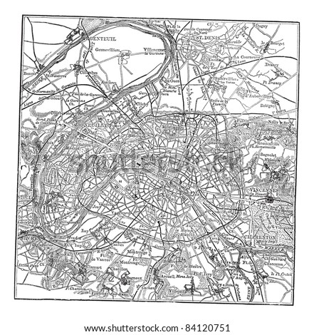 Paris and its environs, during the 1890s, vintage engraving.  Old engraved illustration of Paris map with its environs. Trousset encyclopedia (1886 - 1891). - stock vector