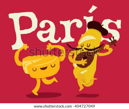 Paris bread and cheese dancing couple with guitar - style vector illustration isolated on fuchsia background - Sign  - stock vector